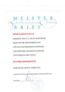 Dachdeckermeister-Brief
